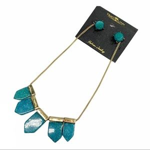 Traci Lynn teal/ turquoise glitter and gold earring and statement necklace set